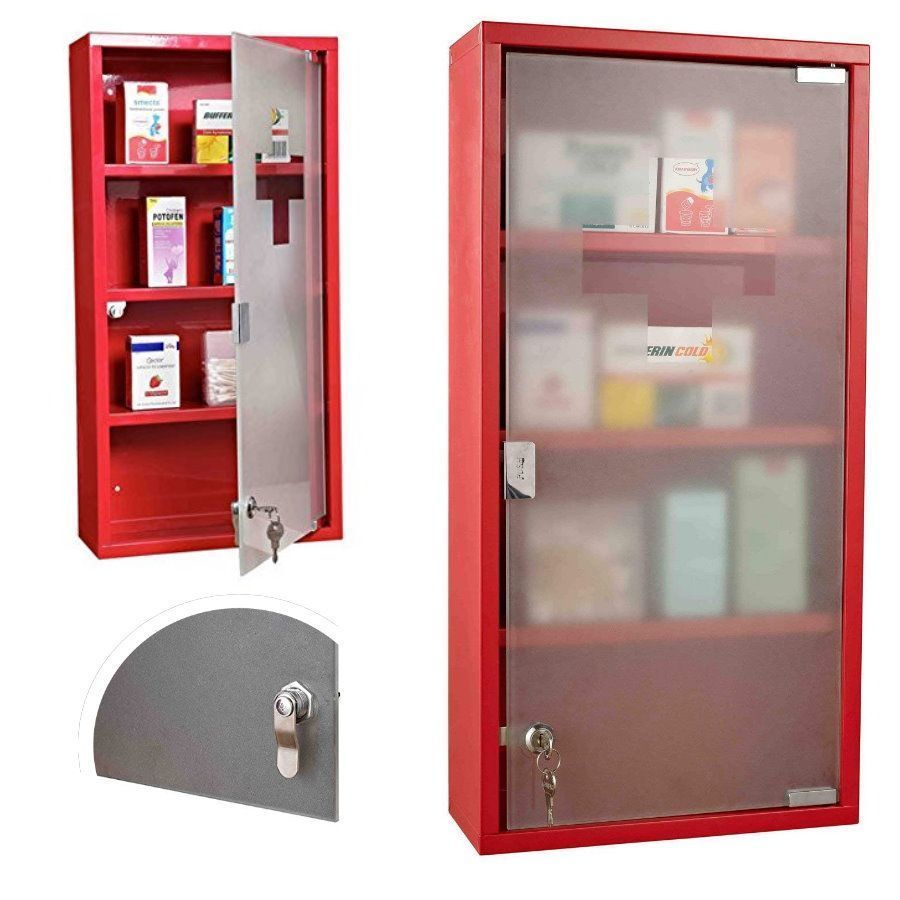 First Aid Wall Mounted Box Medicine Cabinet Red Glass Door Lockable 3 Shelves Glass Door House Design Red Glass