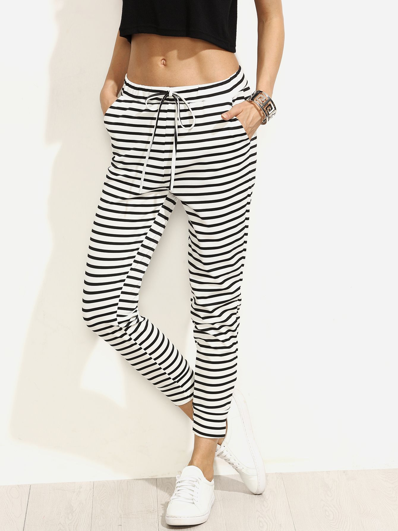 Pantalones rayas cintura con cordón - negro blanco
