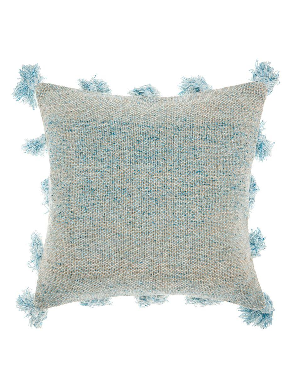 Nourison Life Styles Tassel Border Throw Pillow Throw Pillows Blue Throw Pillows Square Throw Pillow
