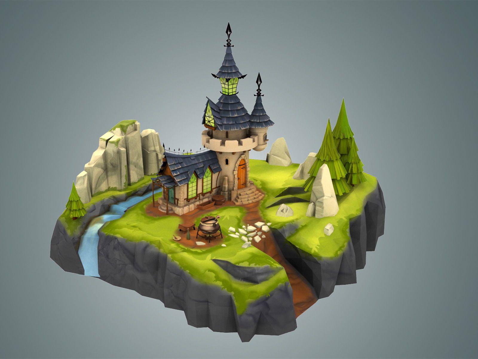 3D model Stylized Castle Environment VR / AR / low-poly MAX OBJ FBX