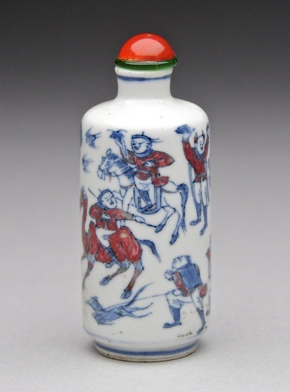 An Underglaze Blue, White & Red Porcelain Snuff Bottle