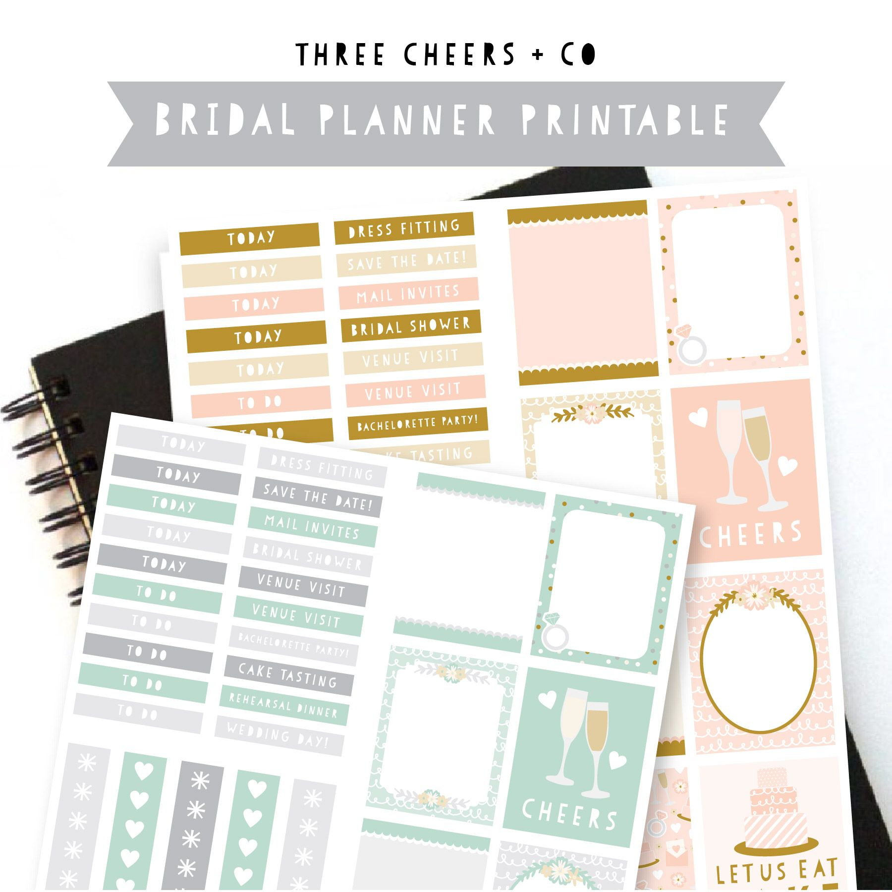 Get Ready For Your Wedding Day With A Free Bridal Planner Sticker Printable From Three Cheers