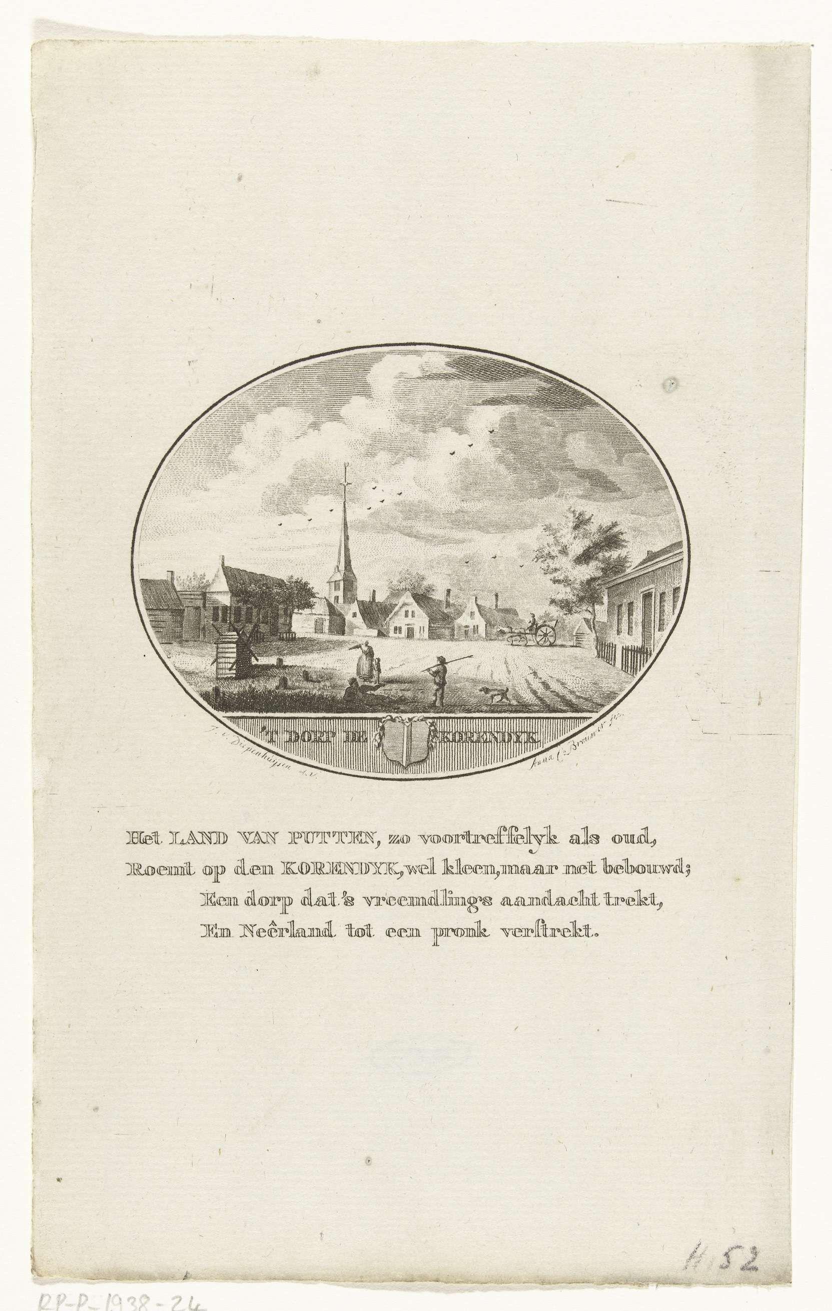 Anna Catharina Brouwer   Gezicht op het dorpsplein van Goudswaard, Anna Catharina Brouwer, 1791 - 1793  