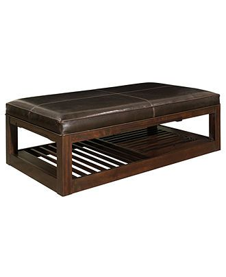 Park West Leather Rectangular Cocktail Ottoman - Coffee, Console ...