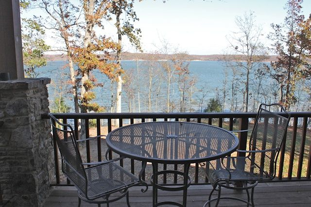 outdoor sitting area and view of the lake