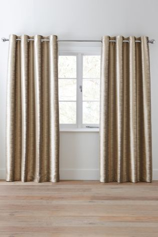 Buy Luxe Metallic Ikat Stripe Eyelet Curtains From The