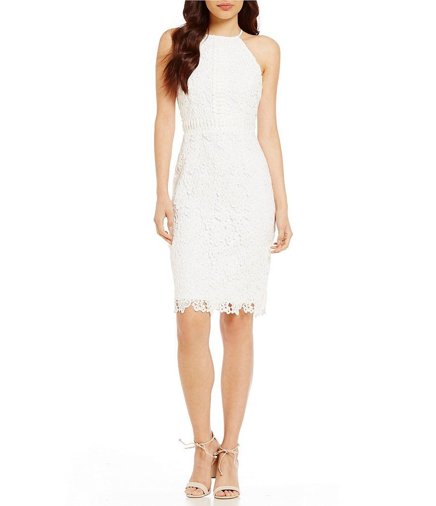 London Times Halter Lace Sheath Dress