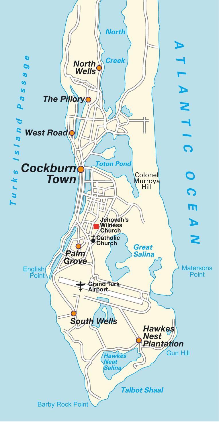 Grand Turk Cruise Port Map : grand, cruise, Grand, Island, Island,, Turks, Caicos, Islands., Directions, Turk,, Beaches