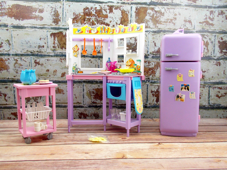 Barbie Doll Kitchen 2000 Barbie All Around Home Kitchen Set Fashion Doll Kitchen Set Mattel Diy Barbie House Barbie Blue Milk