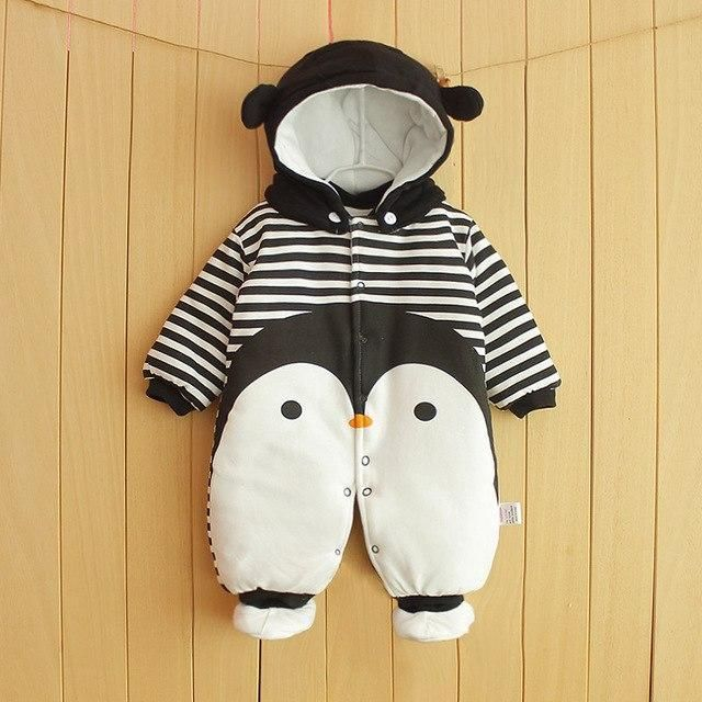 55bda3dd6 Clothes Newborn Baby Cotton One-piece Thick Hooded Baby Warm In ...