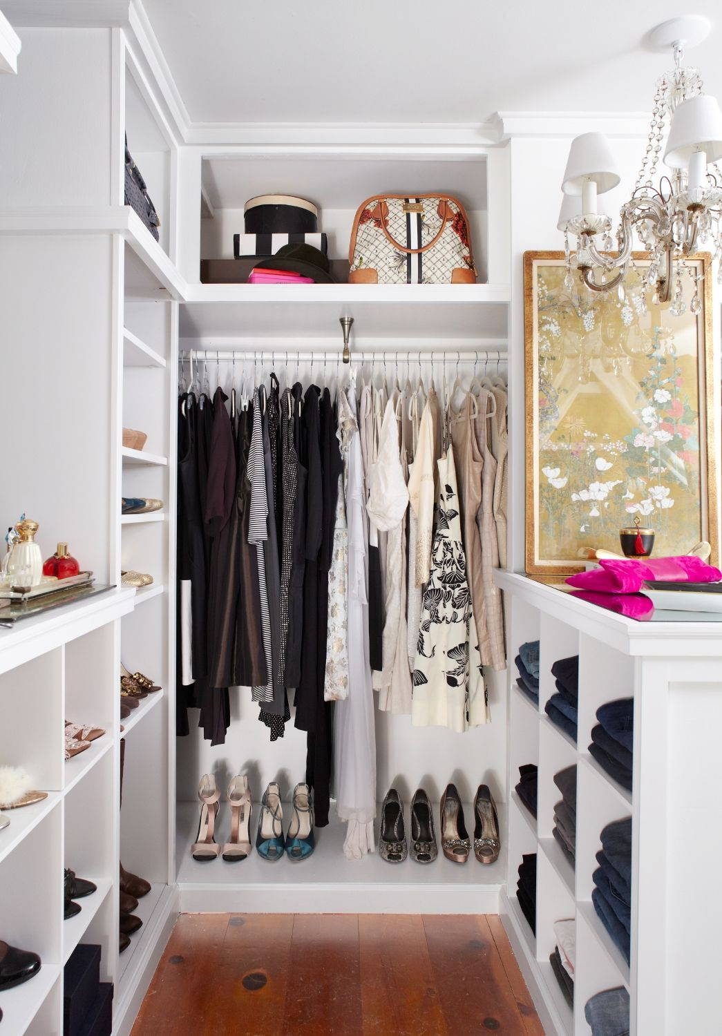 Walk In Closet Design Ideas Part - 29: Small Walk In Closet Designs With Shelves Raise Hanging Rack And Add  Shelves/box Slot Under Instead, Ceiling High Shelf Become Another Hanging  Rack With Box ...