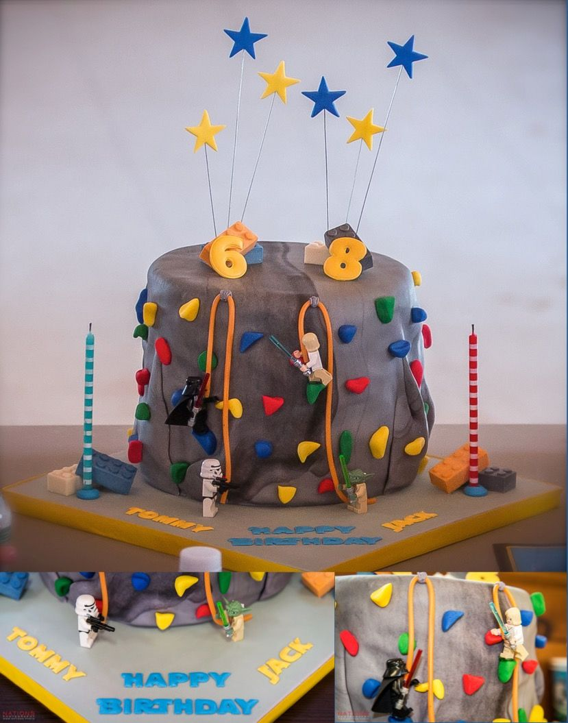 Lego Star Wars Climbing Wall Cake With Images Rock Climbing
