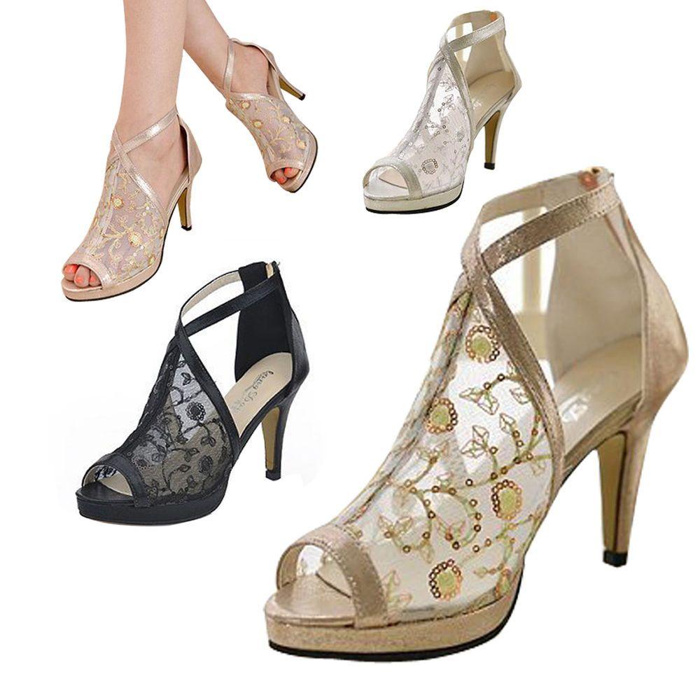 Womens Rhinestone Peep Toe High Heels Platform Lace Mesh Sandals slip on Shoes