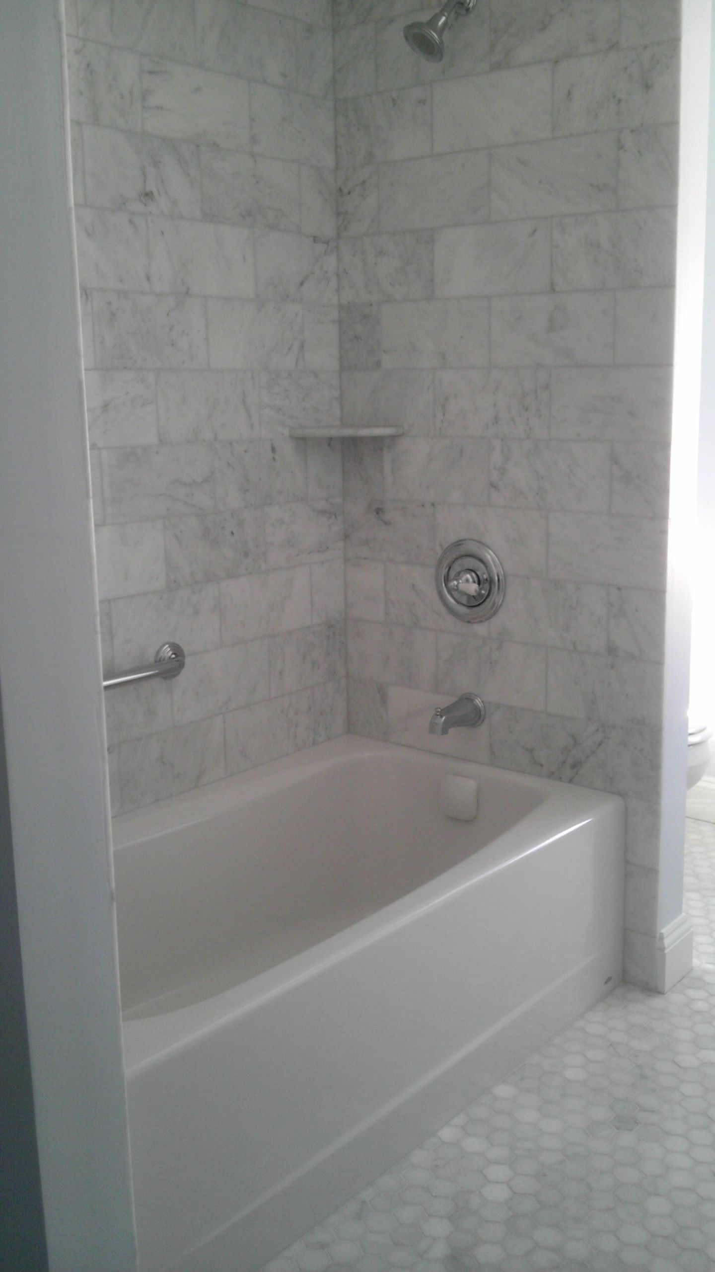 carrara 6x12 shower | Bathrooms remodel, Marble tile ...