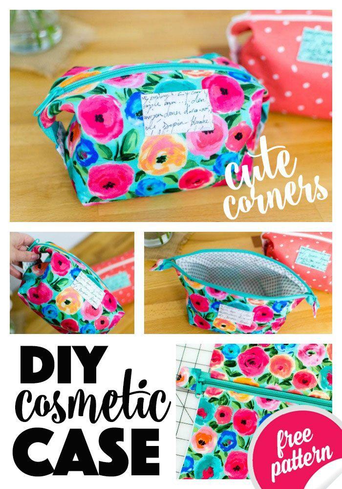 DIY Cute Corners Cosmetic Case {Free Sewing Pattern} DIY Cute Corners Cosmetic Case {Free Sewing Pattern}