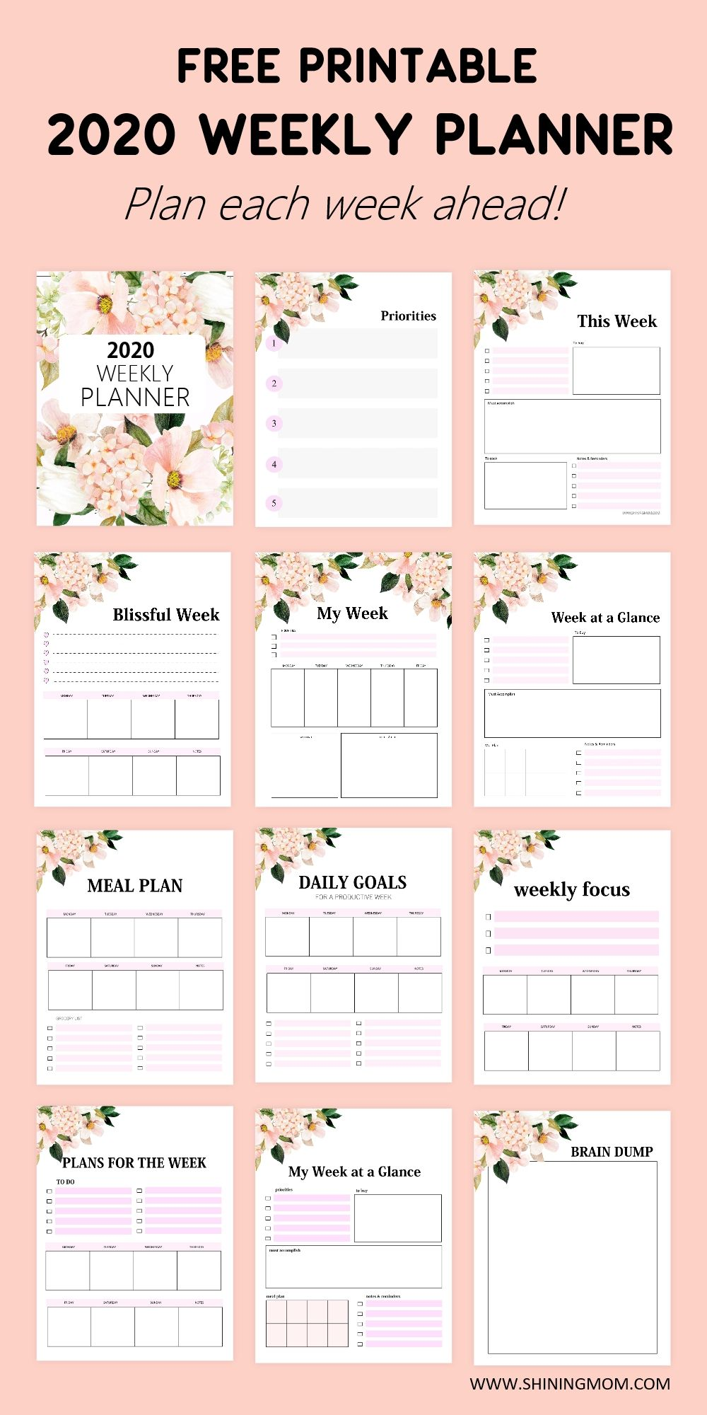 Plan your week in style with our gorgeous weekly planner 2020 printables for free! Set your weekly goals, organize your weekly plans, and so much more. Download for free! #weeklyplanner #freeprintable #planner #2020 #planner2020