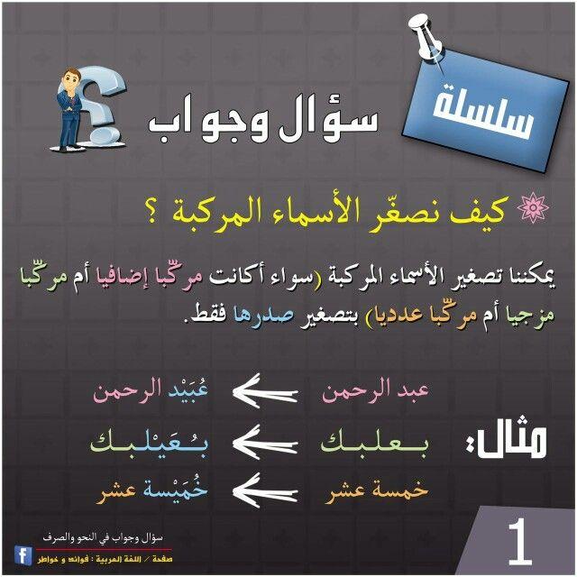 كيف نصغر الأسماء المركبة Arabic Language Arabic Lessons Arabic Langauge