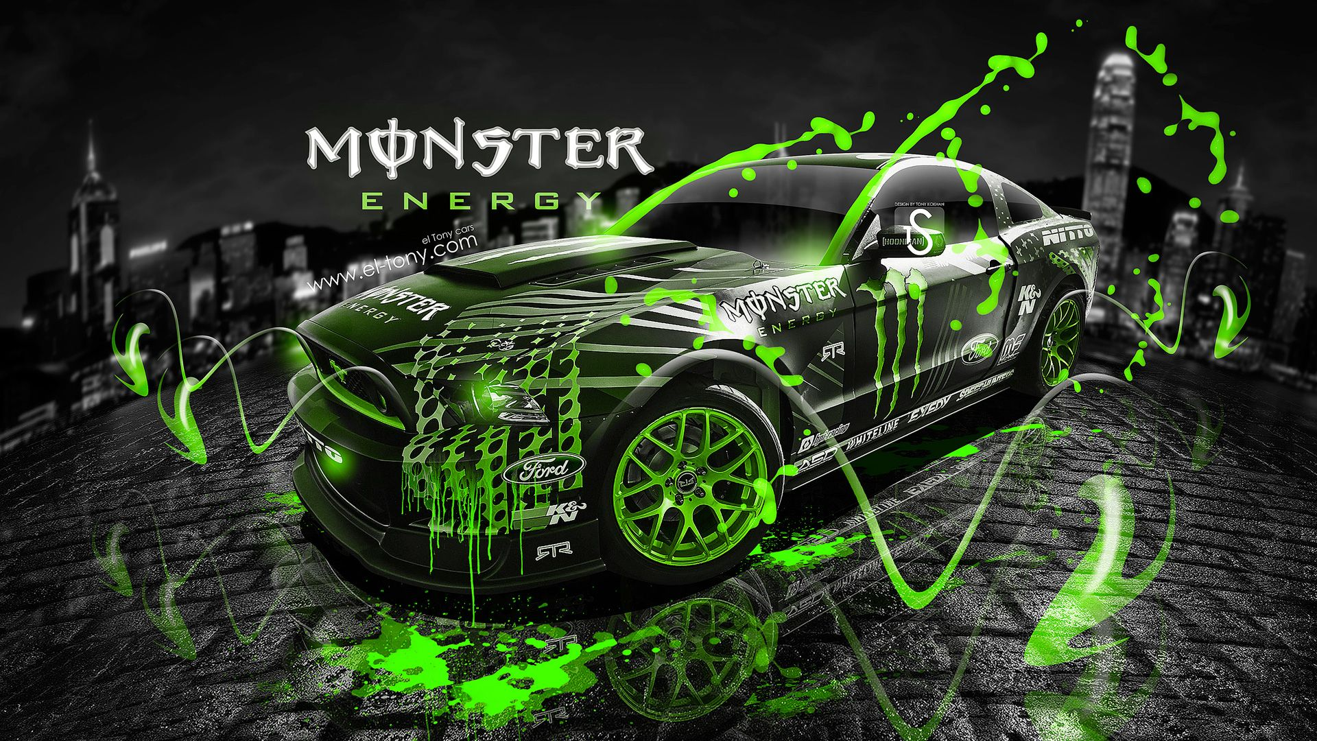 Charmant Monster Energy Ford Mustang GT Fantasy Green Acid