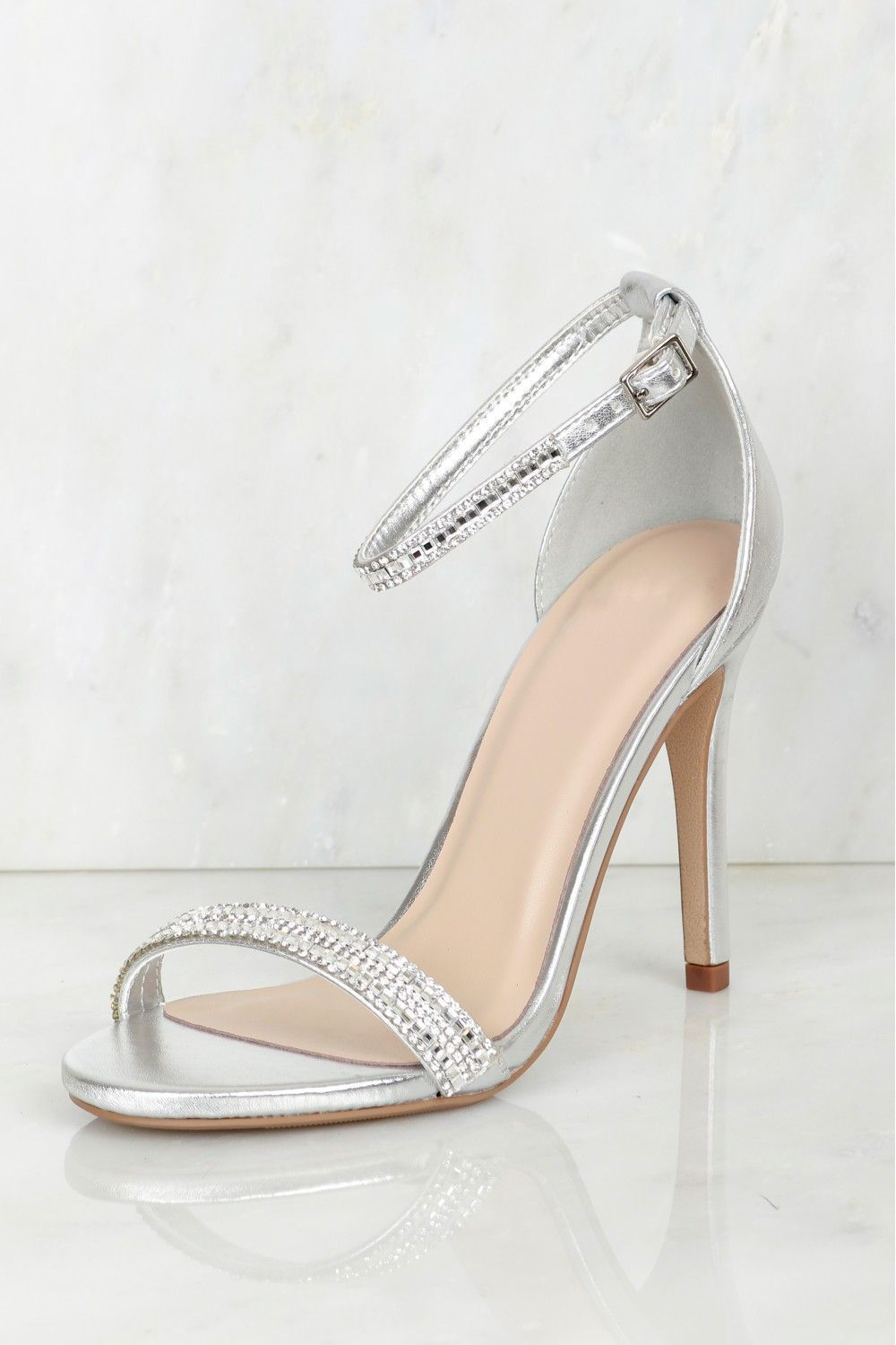 HerStyle Charming Ankle Strap Rounded Buckle Open Toe Stiletto Heel (Silver)