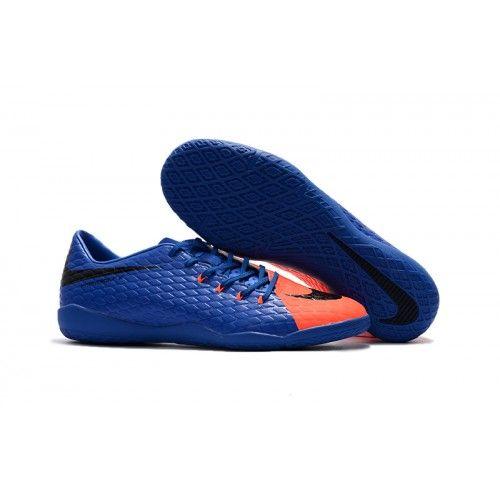 6fc2daa0d0 Fotbollsskor Inomhus Nike HypervenomX Phelon III IC Blå Orange Svart  fotbollsskor för män Chuteira Society