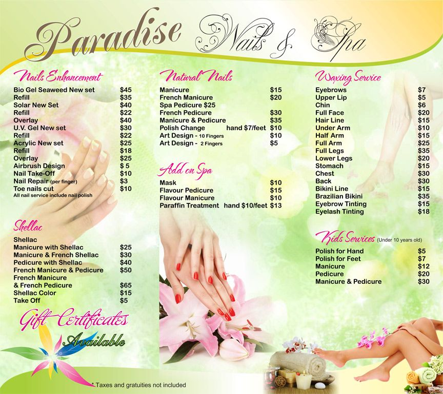 Paradise Nail Spa Prices