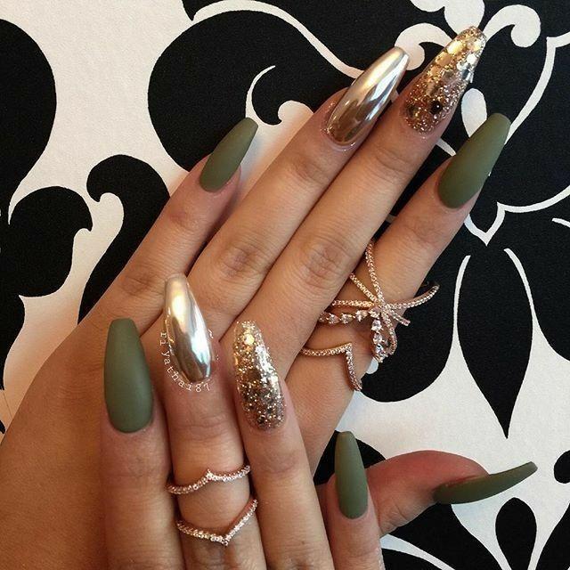 Olive Green Nails. Chrome Nails. Gold Nails. Acrylic Nails