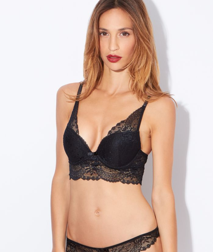 Lace triangle push up bra - BIJOU - BLACK - Etam  e8d69501373