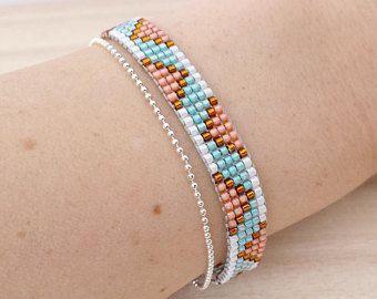Pêche & Turquoise couleurs bracelet de métier à tisser de perle, bracelet en perle de rocaille ...