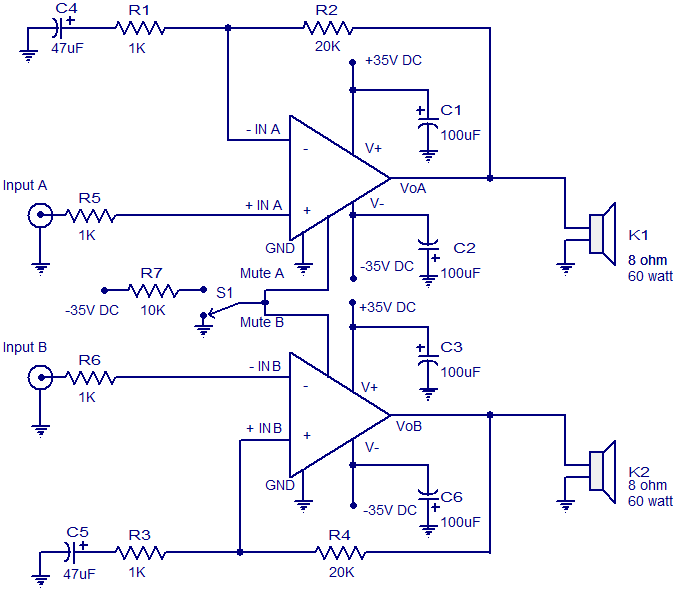 2x60 watt amplifier using lm4780 electronic circuits diy