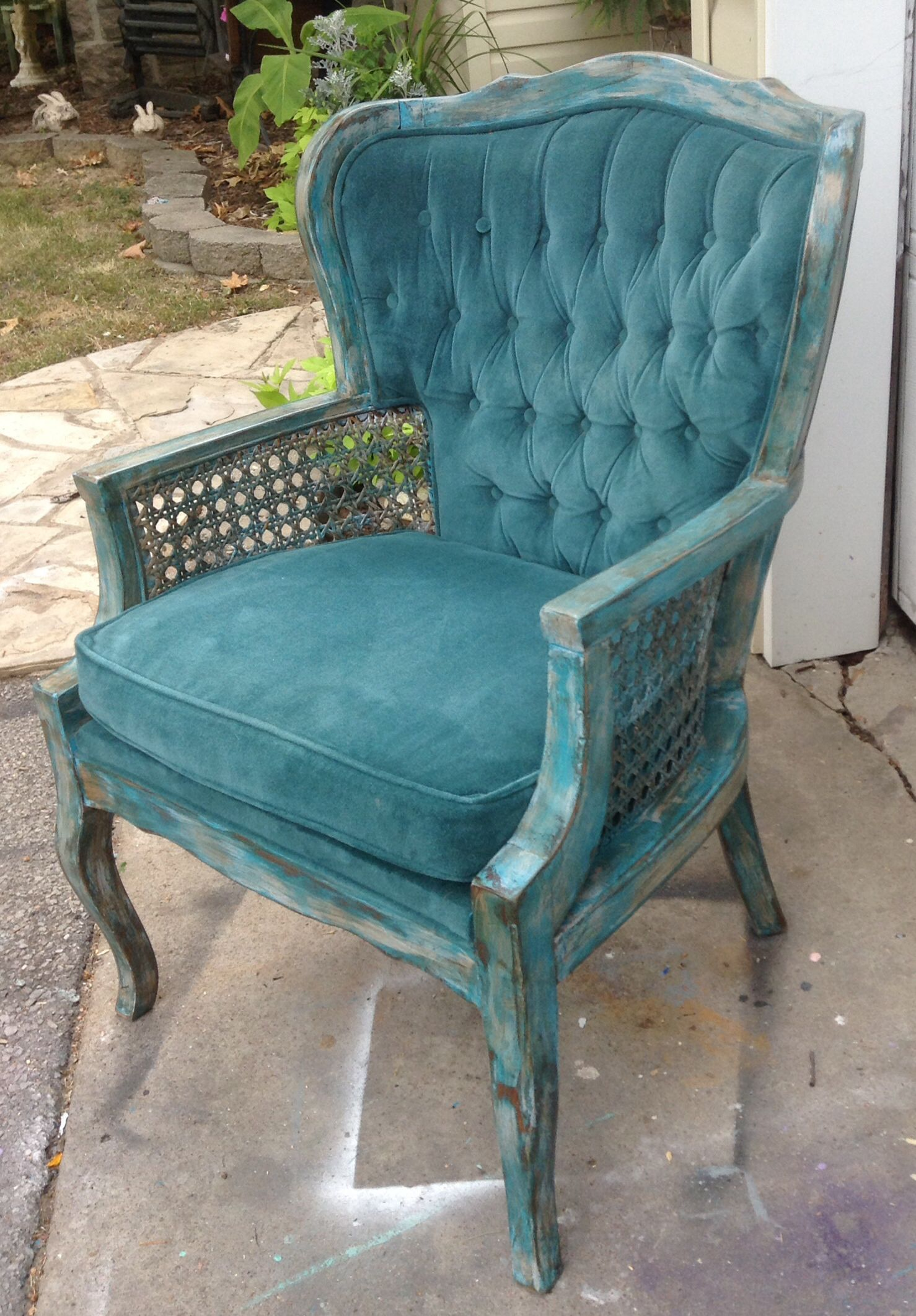 Awesome Turquoise Cane Chair Custom Redesigned Pieces Turned Into A Shabby Chic  Chair
