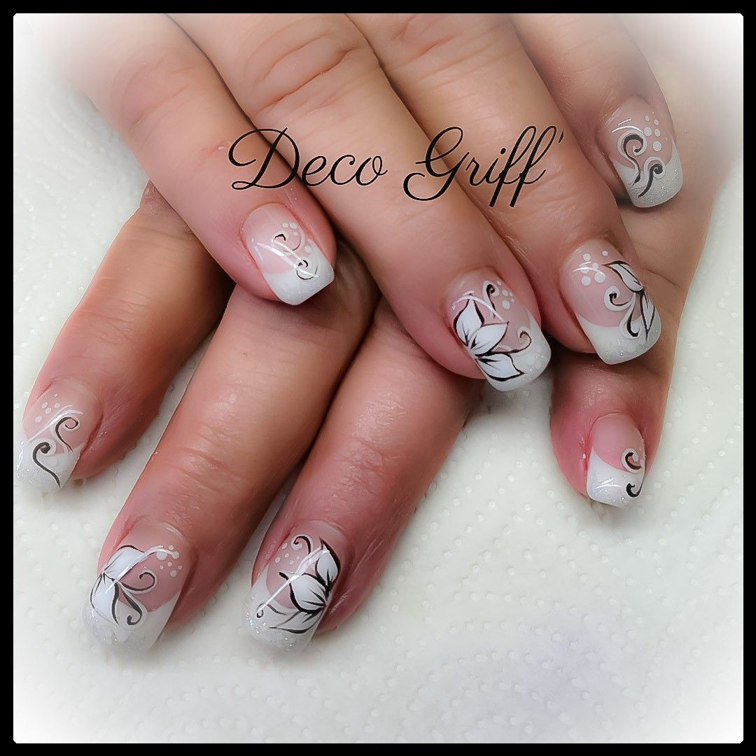French blanche printanière | Ongles, Ongle deco, Ongle gel