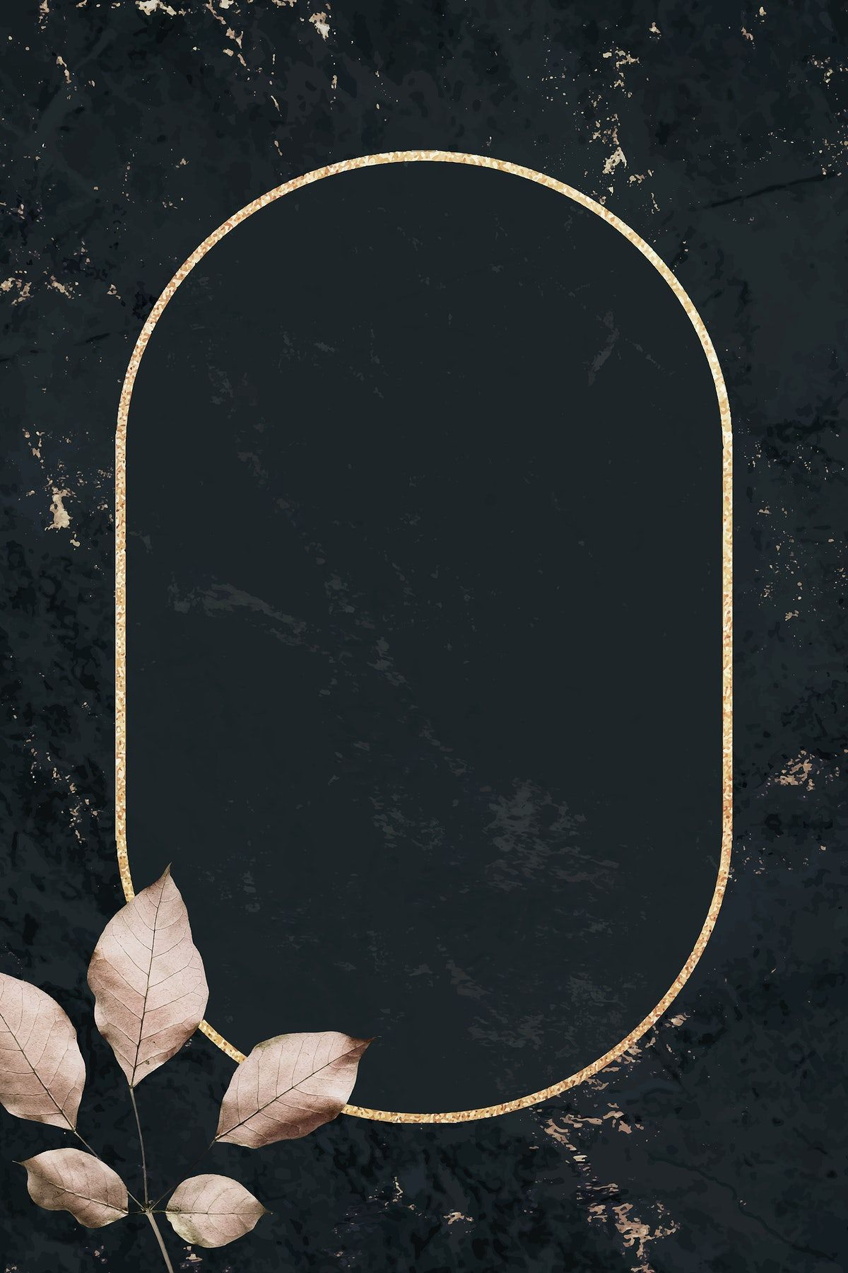 Download Premium Illustration Of Oval Gold Frame With Foliage Pattern On A In 2020 Gold Frame Black Marble Background Marble Texture
