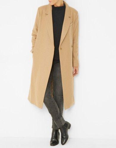 Manteau femme laine moutarde