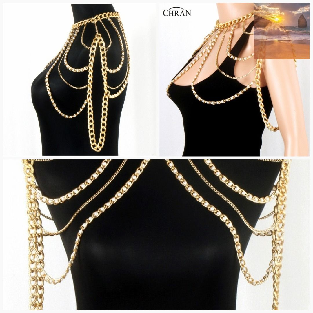 23fdad3cd00 Chran New Fashion Women Sexy Gold Body Chain Faux Pearl Shoulder Necklace  Slave Belly Belt Harness jewelry  classy  ebbandflow  ebband  traciee   class ...