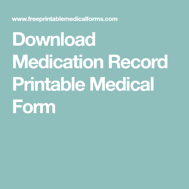Download Medication Record Printable Medical Form