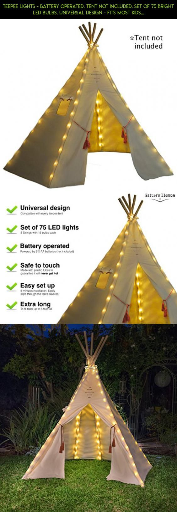 Teepee Lights - Battery Operated. TENT NOT INCLUDED. Set of 75 Bright LED Bulbs & Teepee Lights - Battery Operated. TENT NOT INCLUDED. Set of 75 ...