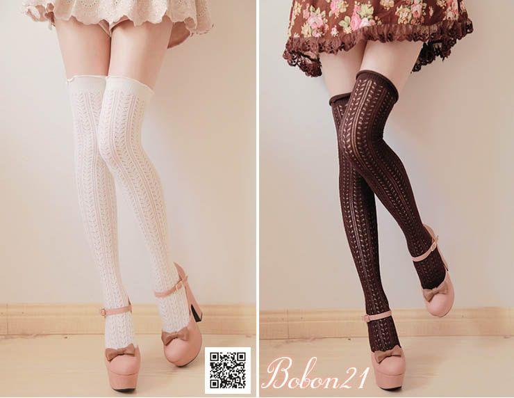 Sweet Lolita Lace Knee-High Kawaii Strawberry Bow Socks White Black Color Summer