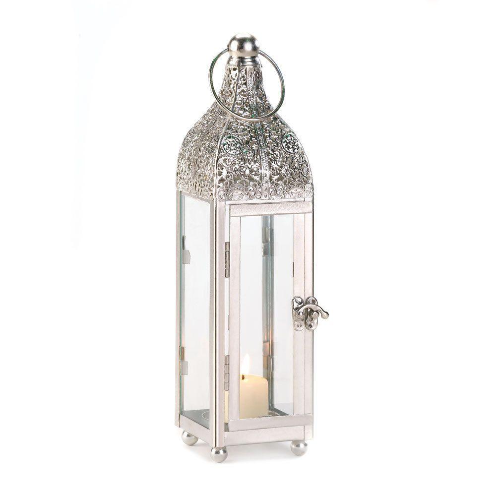 Ornate Polished Metal Glass Hanging Candle Lantern Lamp   2nd ...