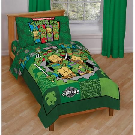 Nickelodeon Teenage Mutant Ninja Turtles 4 Piece Toddler Bedding Set Walmart Com Toddler Bed Set Ninja Turtle Bedroom Kids Comforter Sets