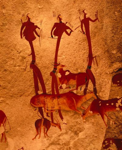 San cave art in Ukhahlamba, Drakensberg Park, South Africa. The paintings are difficult to date, but there is anthropological evidence, including many hunting implements, that the San people existed in the Drakensberg at least 40,000 years ago, and possibly over 100,000 years ago