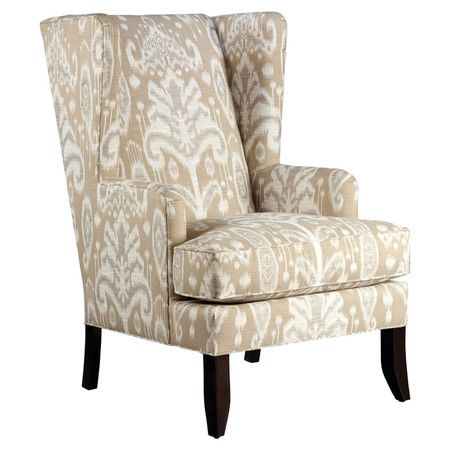 Wingback Arm Chair With Ikat Upholstery Made In The Usa Product