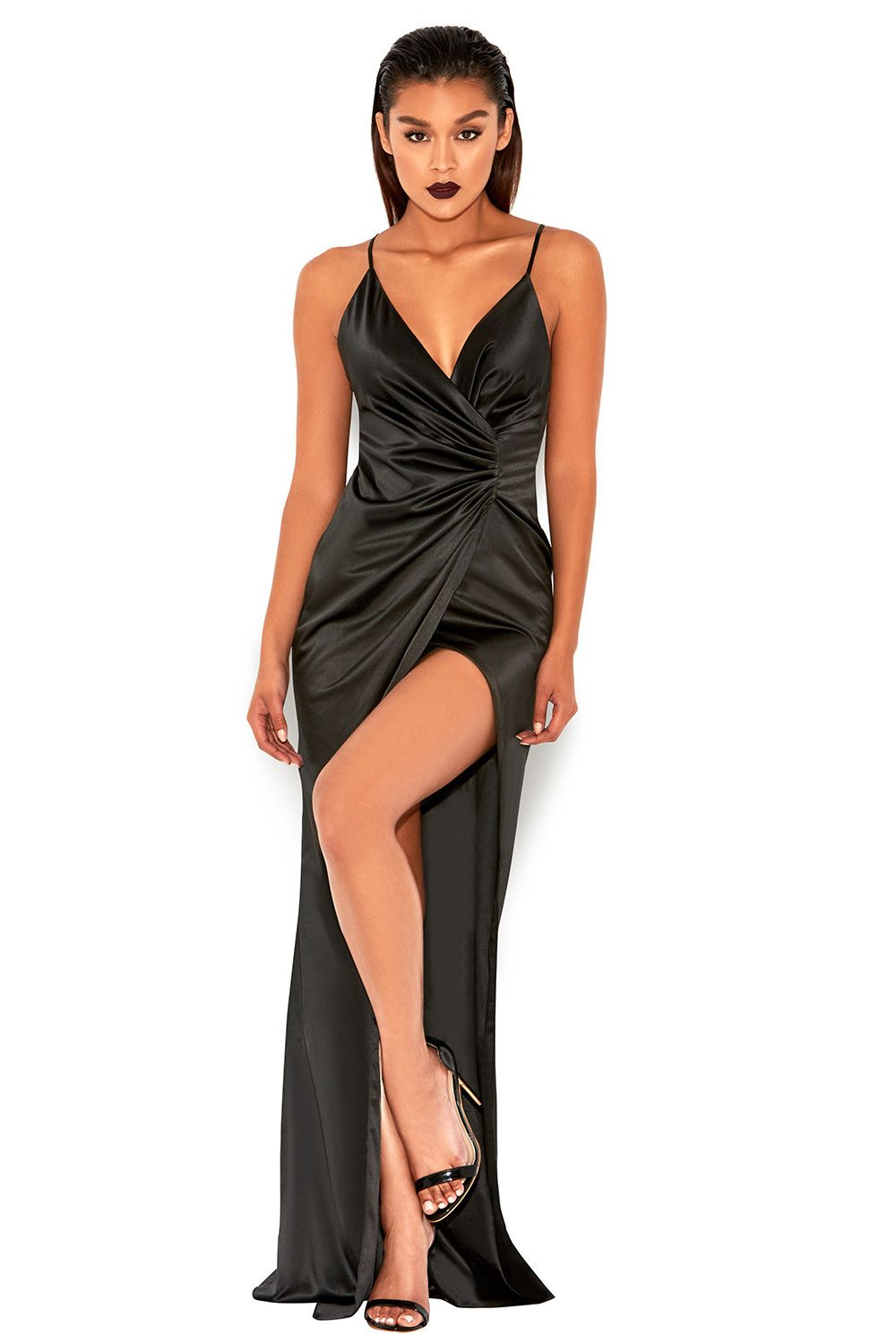 Fairuz Black Draped Satin Maxi Gown | Beautiful Satin | Pinterest