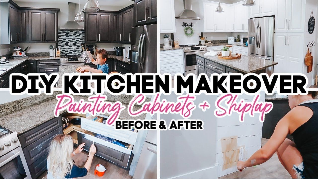 Painting My Kitchen Cabinets Diy Farmhouse Kitchen Makeover On A Budget Youtube In 2020 Diy Kitchen Cabinets Farmhouse Diy Kitchen Makeover