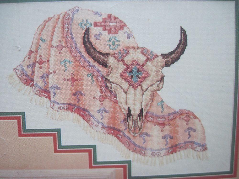 Buffalo Skull Cross Stitch Kit / Beads Southwest Traditions American ...