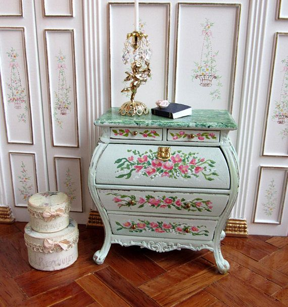 1:12th Scale ~ Dolls House ~ Hand Painted ~ Feranzee Bombay Desk ~ Faux