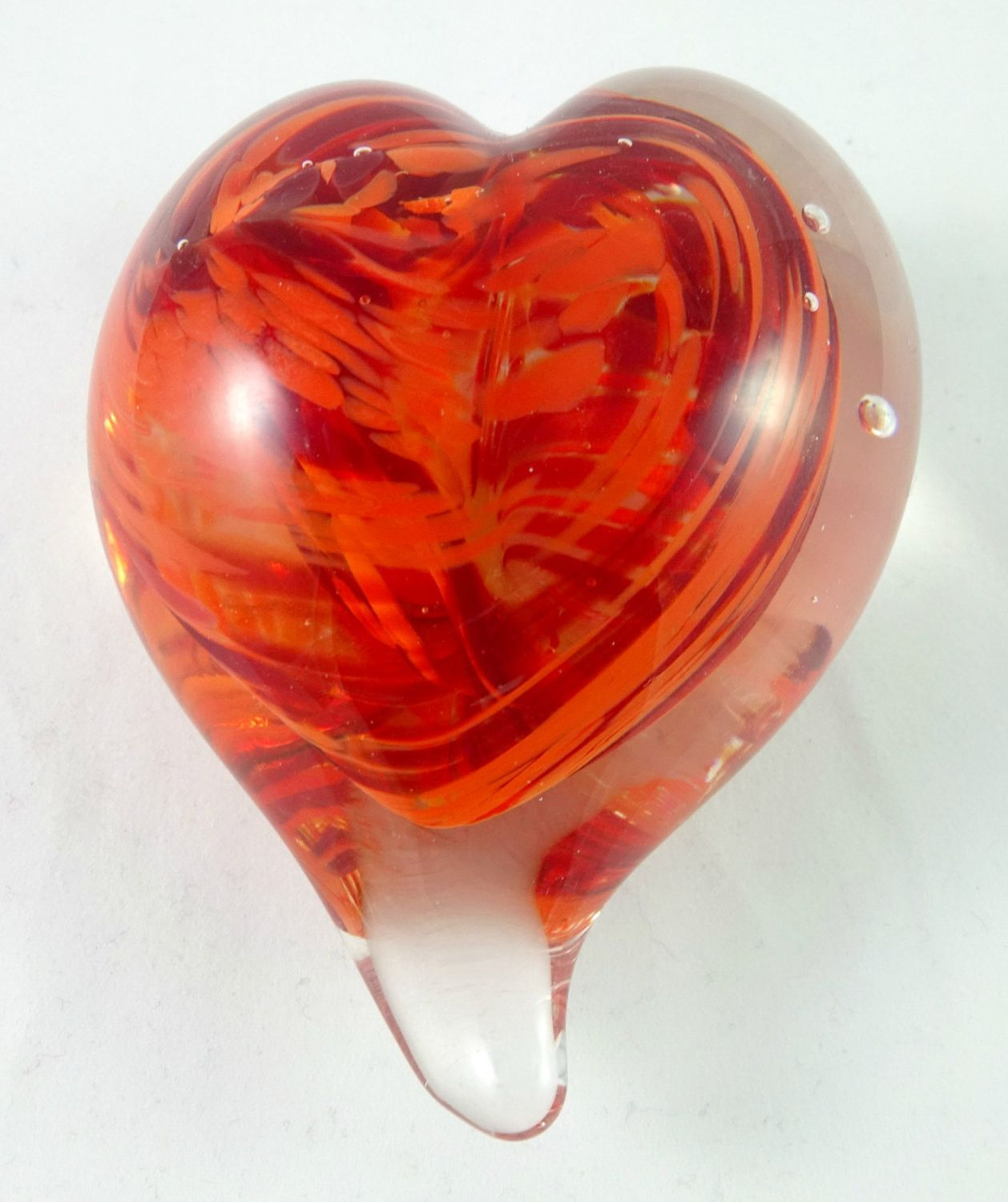 Mother/'s Day Gift Handmade Art Glass Heart Paperweight Orange and Blue