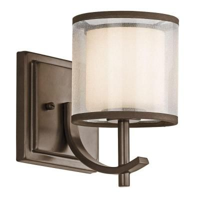 Hampton Bay 1 Light Mission Bronze Wall Sconce 89571 The Home Depot Bronze Wall Sconce Sconces Wall Sconces