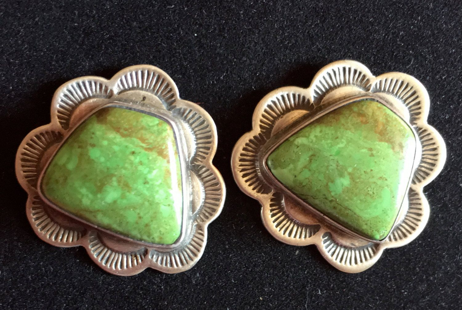 Green Turquoise, Native American Sterling Earrings, Signed, gift box by happytrailsmichelle on Etsy