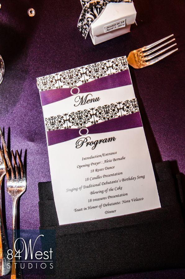 Purple, silver, black, and white 18th birthday invitation design ...