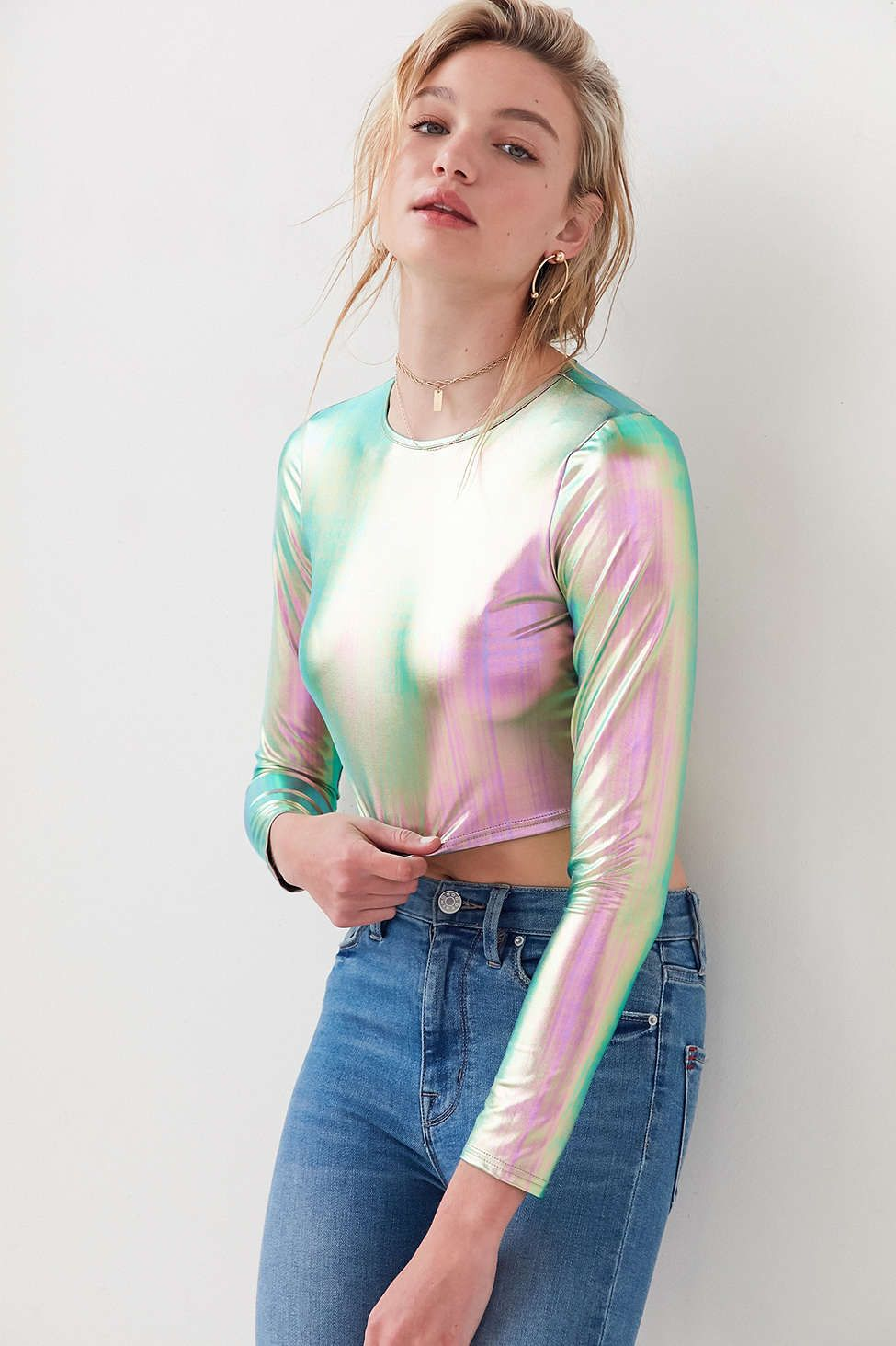 da0ba9512a5847 Long Sleeve Holographic Top | Want It. Need It. in 2019 ...